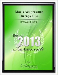 2013 Best Sacramento Massage Award